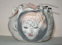 Signed INTRICATE Hand Built RAKU Pottery VASE or BOWL Incredible FACE Rim CHIP