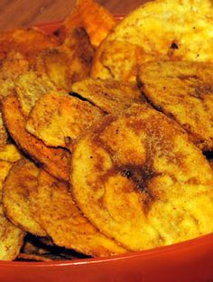 Plaintain Chips: Plantains are a popular west-indian vegetable. Thin and fried to make a chip, you would eat them like any regular chip.