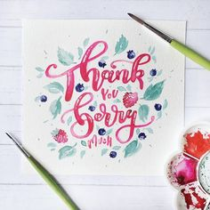 Berry me. Berry you. 🌱 I guess I should go back to lettering more, what u think? Lettering, watercolor or… Calligraphy Practice, Modern Calligraphy, Fruit Puns, Van Gogh Watercolor, Brush Type, Typography, Lettering, Berries, Handmade