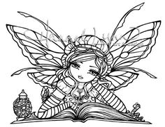 LAST ONE UM Rubber Stamp Bookworm Fairy Hannah Lynn. $7.99, via Etsy.