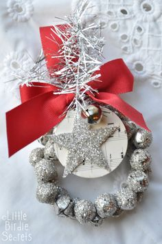 Glitter jingle bell wreath tutorial