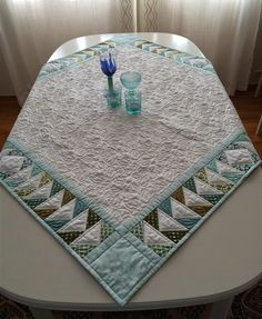 "Tablecloth quilted in the ""Metal Hoop"" for Pfaff and Husqvarna Viking embroidery machines."