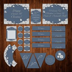 Diamonds and Denim Party Pack - Custom Set - Invitation - Thank You Card - Banner - Cupcake Wrapper - Topper  & Much More