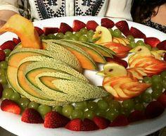 Decoración con frutas.