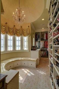 Vintage-feel: Everyone needs a place to sit and admire their closet, right? | 10 of the Most Beautiful Walk-in Closets #Found on Pinterest