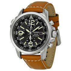 Seiko Solar Chronograph Compass Black Dial Mens Watch SSC081. Quartz, but great value for the money.