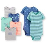 With 100% soft cotton and expandable shoulders, our 7-pack bodysuits are essential for your baby boy's first outfits. We love the sea-inspired prints on these!<br>