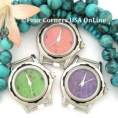 Womens Turquoise Stone and Apple Coral Southwest Watch Faces for Four Corners USA OnLine Native American Jewelry