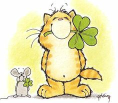 St. Patrick's Day Graphics Cat Mouse with Clovers St. Patrick's Day ...