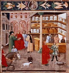 An apothecary in an old manuscript Medieval Market, Medieval Life, Medieval Manuscript, Illuminated Manuscript, Bernard Lewis, Chaucer Canterbury Tales, Islam, Book Of Hours, Medieval Clothing