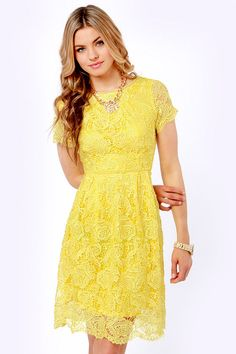 Pretty Yellow Dress - Lace Dress - Backless Dress - $70.00