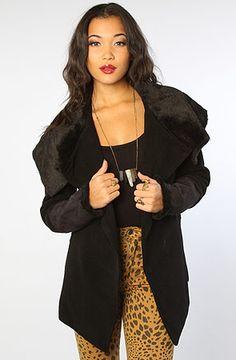 The Iren Faux Suede Shearling Coat in Black by BB Dakota  SALE! 65.95