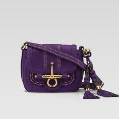 Gucci Snaffle Bit Small Shoulder Bag 263956 In Violet Gucci Shoulder Bag, Small Shoulder Bag, Leather Shoulder Bag, Purple Handbags, Purple Bags, Purple Purse, Gucci Purses, Gucci Handbags, Gucci Gucci
