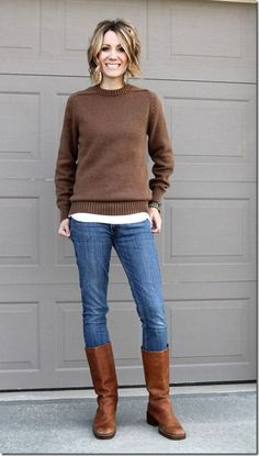 Tall boots and sweater in brown hues look cool with skinny jeans. on The Fashion Time  http://thefashiontime.com/perfect-shoes-to-wear-with-skinny-jeans/#sg63
