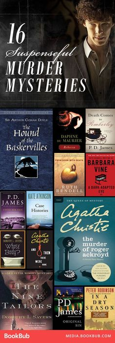 Picks: Our 16 Favorite British Murder-Mysteries These murder mystery books are full of suspense and adventure.These murder mystery books are full of suspense and adventure. Books And Tea, I Love Books, Good Books, Books To Read, My Books, Books To Buy, Murder Mystery Books, Mystery Novels, Murder Mysteries