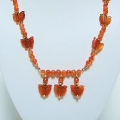 Unique Carnelian Hand Carved Butterfly Necklace and Earrings Set,  Gift for Her by #JewelrybyIshi, $35.00