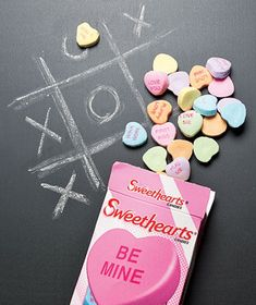 Conversation hearts as chalk - A great Valentine's Day party game.