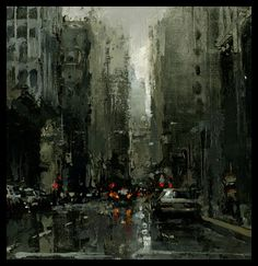 """The Traditional Work of Jeremy Mann - Cityscapes """"The Montgomery Canyon"""" - Oil on Panel - 6 x 6 in., - The Studio Gallery"""