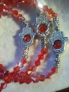 Evil Eye Hamsa hand in Red Swarovski Black or Motor Oil stretch bracelets 3 set #lihang6 #Stretch