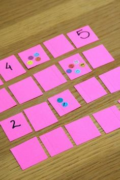 Patterns/Relationships and Number Sense/Operations - Try this new twist to the traditional memory game to help your kindergartener match number symbols to the correct quantity while sharpening her memory skills! Kindergarten Math Activities, Numbers Kindergarten, Numbers Preschool, Math Numbers, Preschool Math, Kindergarten Classroom, Subitizing Activities, Numeracy, Decomposing Numbers