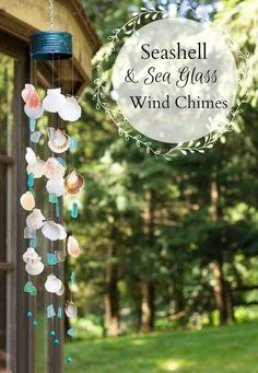 How to make a seashell & sea glass wind chime !      Instructions     Love the large pot with the globes in this garden!       Source     ...