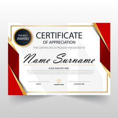 Red horizontal certificate template Free Vector A gift Certificate for Winners! Certificate Layout, Certificate Of Achievement Template, Certificate Design Template, Certificate Border, Name Signature, Printable Certificates, Certificate Of Appreciation, Free Frames, Backdrop Design