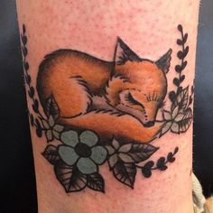 Sleeping vixen by Laura Graham @ Lady Luck Tattoo, Portland, Oregon
