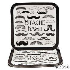Mustache Party Paper Plates - Large Size - 8 Pack -Stache Bash Moustache Plates:Amazon:Toys & Games