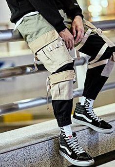 dc330688d222 Camoflauge Patchwork Cargo Combat Utility Trousers Vintage Fashion