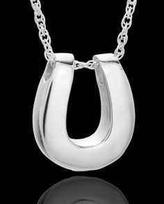 sterling silver ash horseshoe pendant, has a screw, silver link chain slides through holes in top of horseshoe