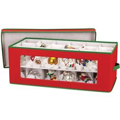 "Household Essentials 36pc Ornament Chest Strong and durable Window Vision lets you see which ornaments are stored Heavy-stock cardboard dividers keep ornaments protected Customizable dividers adjust to accommodate multi-sized ornaments Top layer lift-out-tray keeps ornaments in tact for easy access to lower tray Red poly/cotton canvas with green trim creates a festive storage option for those special holiday collectibles Dimensions: 10""H x 13.5""W x 27""D"