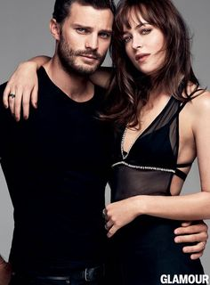 """With the film release just around the corner, """"50 Shades of Grey"""" leads, Dakota Johnson and Jamie Dornan, land the March 2015 cover from Glamour Magazine. Photographed by Steven Pan, the actors get up close and personal in the steamy shoot. In the issue, they talk about their roles where they had to become Anastasia Steele and Christian Grey.  Related:"""