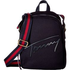 Tommy Hilfiger Tommy Script Mini Crossbody Backpack Canvas (Tommy... ($40) ❤ liked on Polyvore featuring bags, navy, canvas zipper bags, mini canvas backpack, zip bag, navy blue backpack and mini crossbody bag