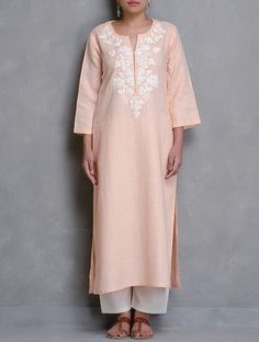 Buy Peach Floral Embroidered Linen Kurta Online at Jaypore.com