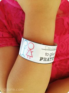 Free Printable Primary Wristband Reminders by ldslane.com. I Wish these here around when I was in Primary...