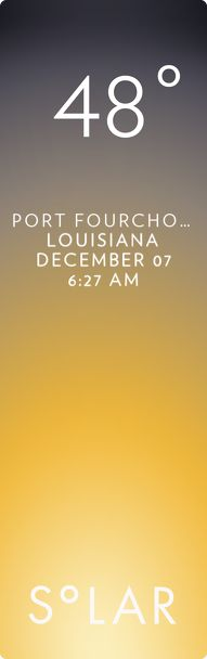 Golden Meadow weather has never been cooler. Solar for iOS.