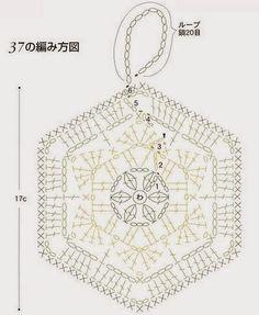 crochet hexagon chart for poss potholder Grannies Crochet, Crochet Potholders, Crochet Motifs, Crochet Blocks, Crochet Round, Crochet Chart, Crochet Squares, Love Crochet, Crochet Doilies