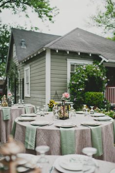 Lauren + Mario at Gardens of Bammel Lane | Two Be Wed. Burlap linens with sage napkins, and peach + pink floral centerpieces.