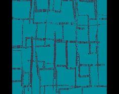 """""""Wind Melody Carmin"""". Türkis/blauer Jersey mit dunkelblauen graphischen Streifen kreuz und quer. Von Art Gallery  95% Baumwolle, 5% Elastan   Preis pro 25cm Lauflänge (25cm x 140cm), größere..."""