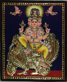 Tanjore Brahma Painting. Your decor will bear a sophisticated and cultured look when adorned with this striking Tanjore painting featuring Lord Brahma, the Hindu God of creation. Rich and intricate, this compact composition is also bright, colorful and breathtakingly beautiful.