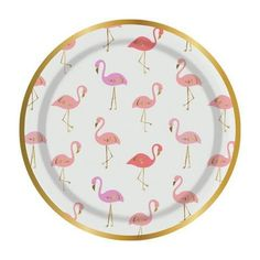 Let these sweet flamingos flock to your next party. With shades of pink and coral and gold foil accents, these sweet paper plates will add a tropical touch to any celebration. Set includes 8 plates. M