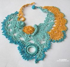 crochet necklace -- I like this idea too as a cover up for a low neckline blouse.