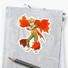 The Feisty Fairies are an elemental and woodland collection of fantasy spirits drawn in an anime style. Check out this beautiful forest spirit, his wings are autumnal oak tree leaves! So cool! / Visit with the rest of my collection of cute fairies right here: https://www.redbubble.com/people/cwindsor/collections/851648-feisty-fairies?asc=u • Also buy this artwork on stickers, apparel, phone cases, and more.