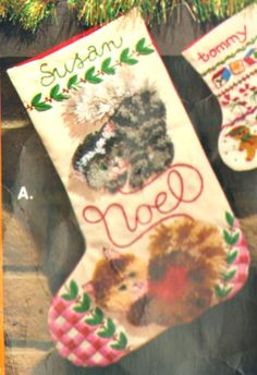 "VINTAGE 1979 THE CREATIVE CIRCLE ""KITTEN'S NOEL"" STOCKING CREWEL EMBROIDERY KIT #TheCreativeCircle"