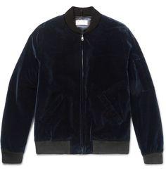 APC Louis W midnight blue velvet bomber jacket