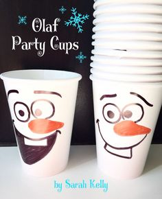 Frozen Birthday Party Olaf paper party cups by KellyGeneLife Frozen Birthday Party, Olaf Party, Elsa Birthday, Frozen Theme Party, 4th Birthday Parties, 2nd Birthday, Turtle Birthday, Turtle Party, Carnival Birthday