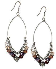 c.A.K.e. by Ali Khan Earrings, Silver Tone Glass Bead Oval Bottom Cluster Earrings - Fashion Earrings - Jewelry & Watches - Macy's