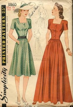 570eed44cef Items similar to Vintage 1940 Shirtwaist Day or Evening Dress Pattern  Square Neckline Full Skirt 1940s Simplicity 3860 Bust 32 UNCUT on Etsy