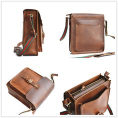 Vertical Leather Crossbody Satchel Mens Leather от SolidLeatherCo