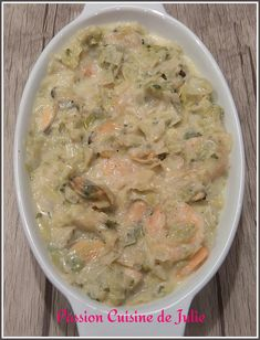 Cassolette de poireaux aux crevettes et moules